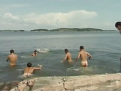 Numerous gays have fun in lake